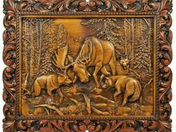 "Carved panel – ""Battle with wolves"""