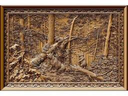 "Carved panel – ""Morning in coniferous forest"""