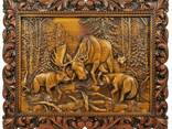 "Carved panel – ""Battle with wolves"" - photo 1"