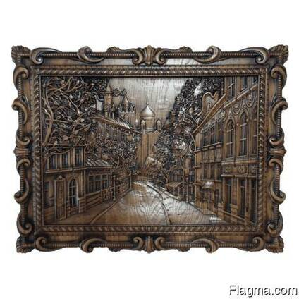 """Carved panel – """"City"""""""