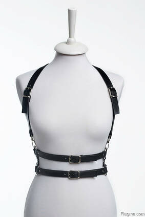 Leather double-belt harness ALINA MUHAleather accessory