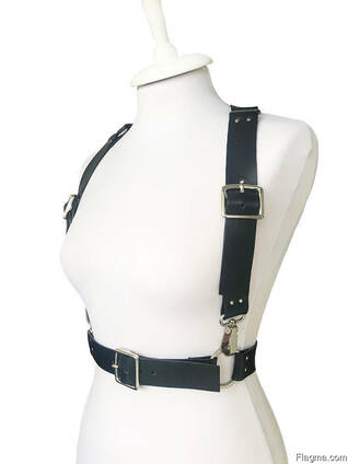 Leather wide straps harness ALINA MUHA leather accessory