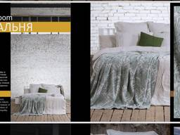 Bedding, kitchen and bath accessories made of natural corrugated, ecologically clean linen