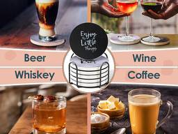 Sets of ceramic absorbent drink coasters